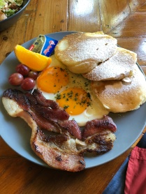 Buttermil Pancake with Eggs and Bacons